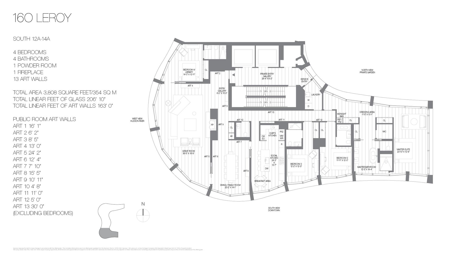 Floor plan of 160 Leroy St, SOUTH14A - West Village - Meatpacking District, New York