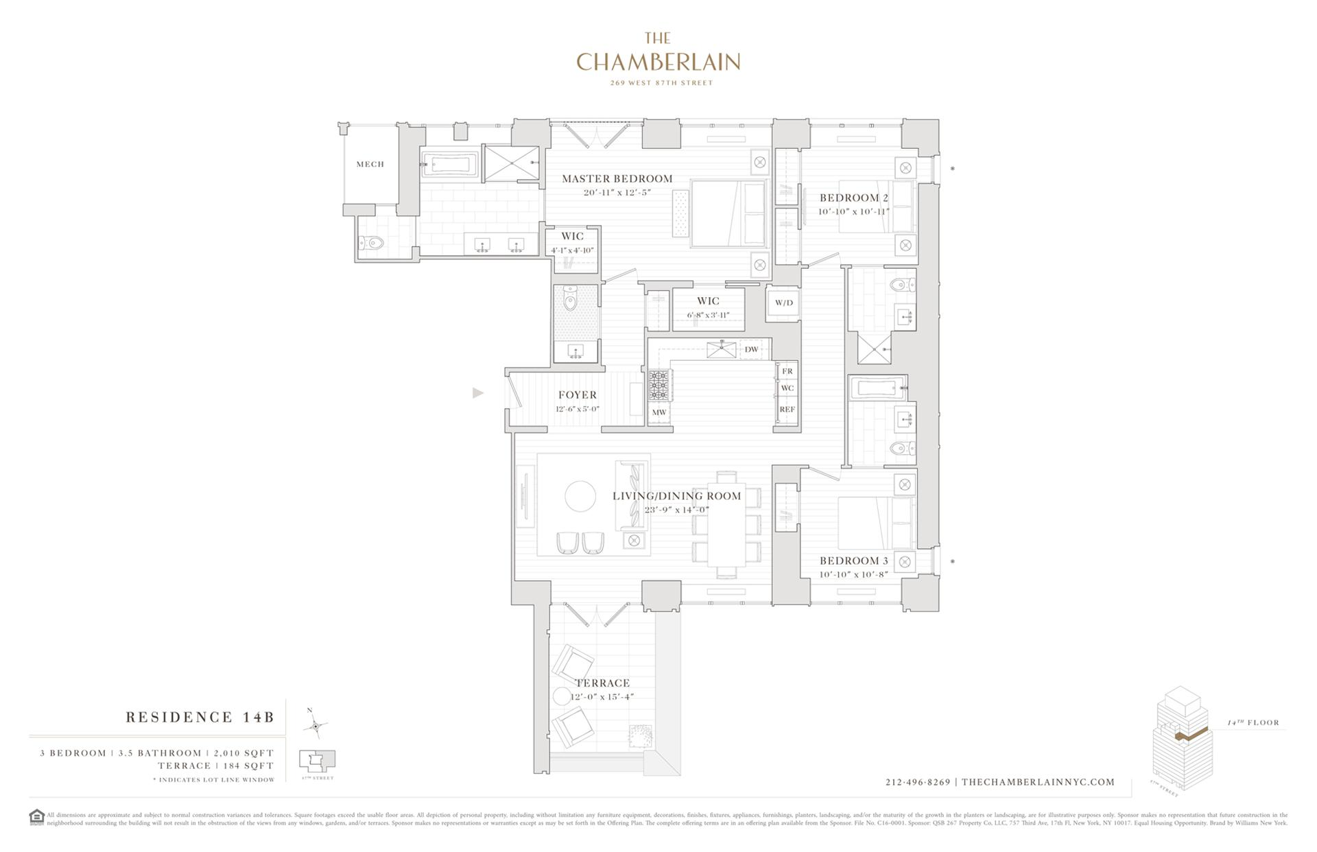 Floor plan of 269 West 87th St, 14B - Upper West Side, New York