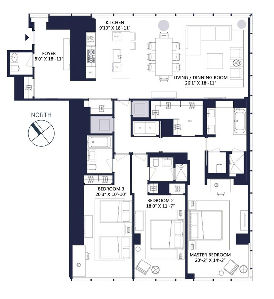 Floor plan of One57, 157 West 57th St, 34F - Central Park South, New York