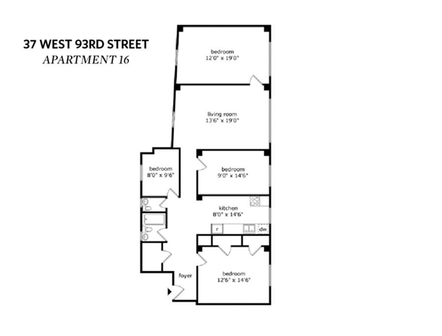 Floor plan of 37 West 93rd St, 16 - Upper West Side, New York