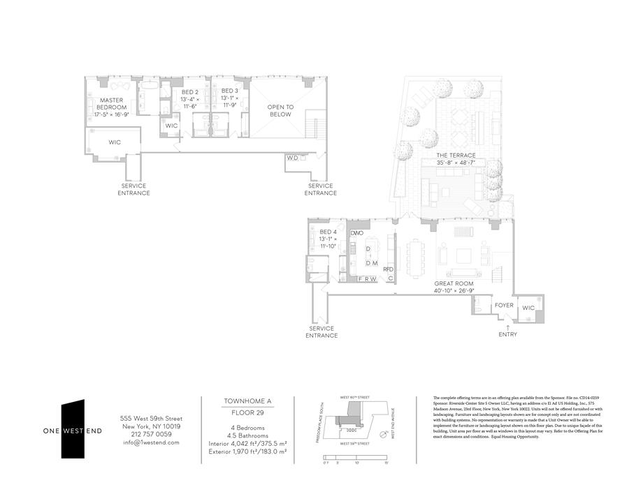 Floor plan of One West End, 1 West End Avenue, 29A - Upper West Side, New York