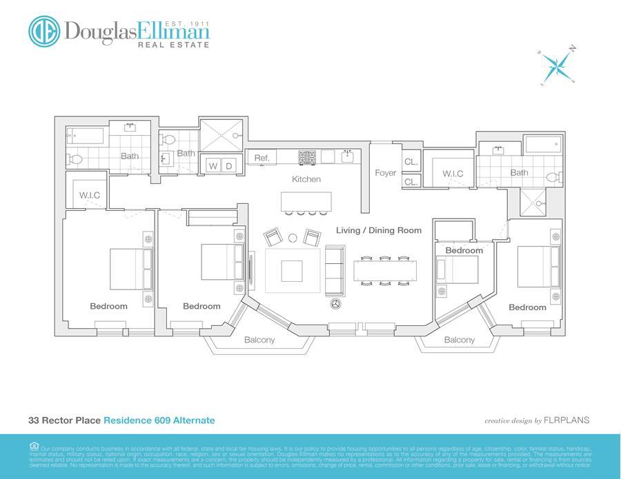 Floor plan of One Rector Park, 333 Rector Pl, 609 - Battery Park City, New York