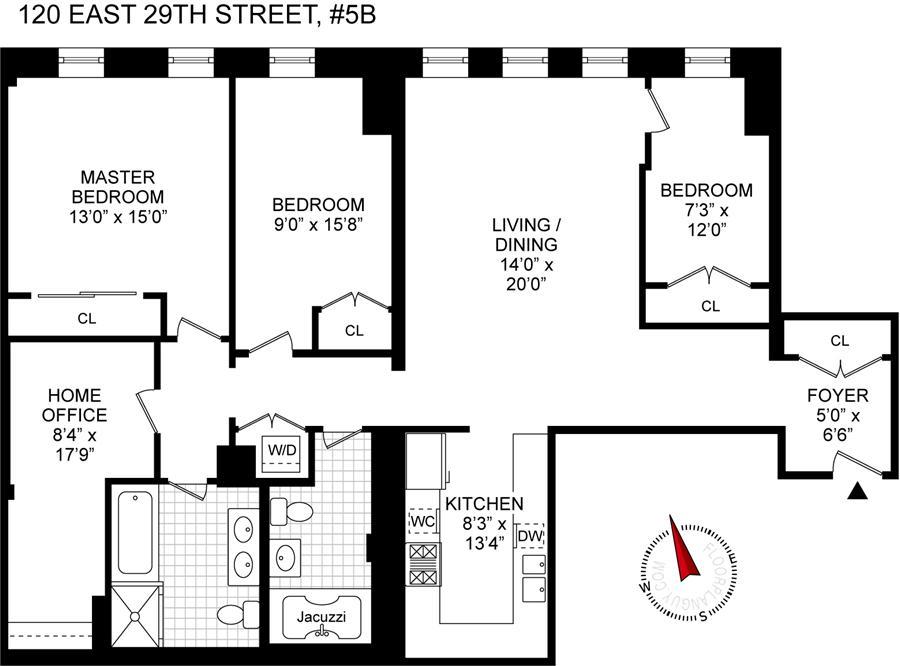Floor plan of 120 Gramercy Hill, 120 East 29th Street, 5B - Gramercy - Union Square, New York