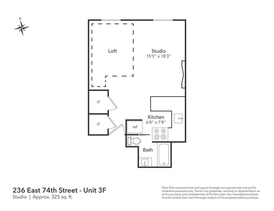 Floor plan of 236 East 74th Street, 3F - Upper East Side, New York