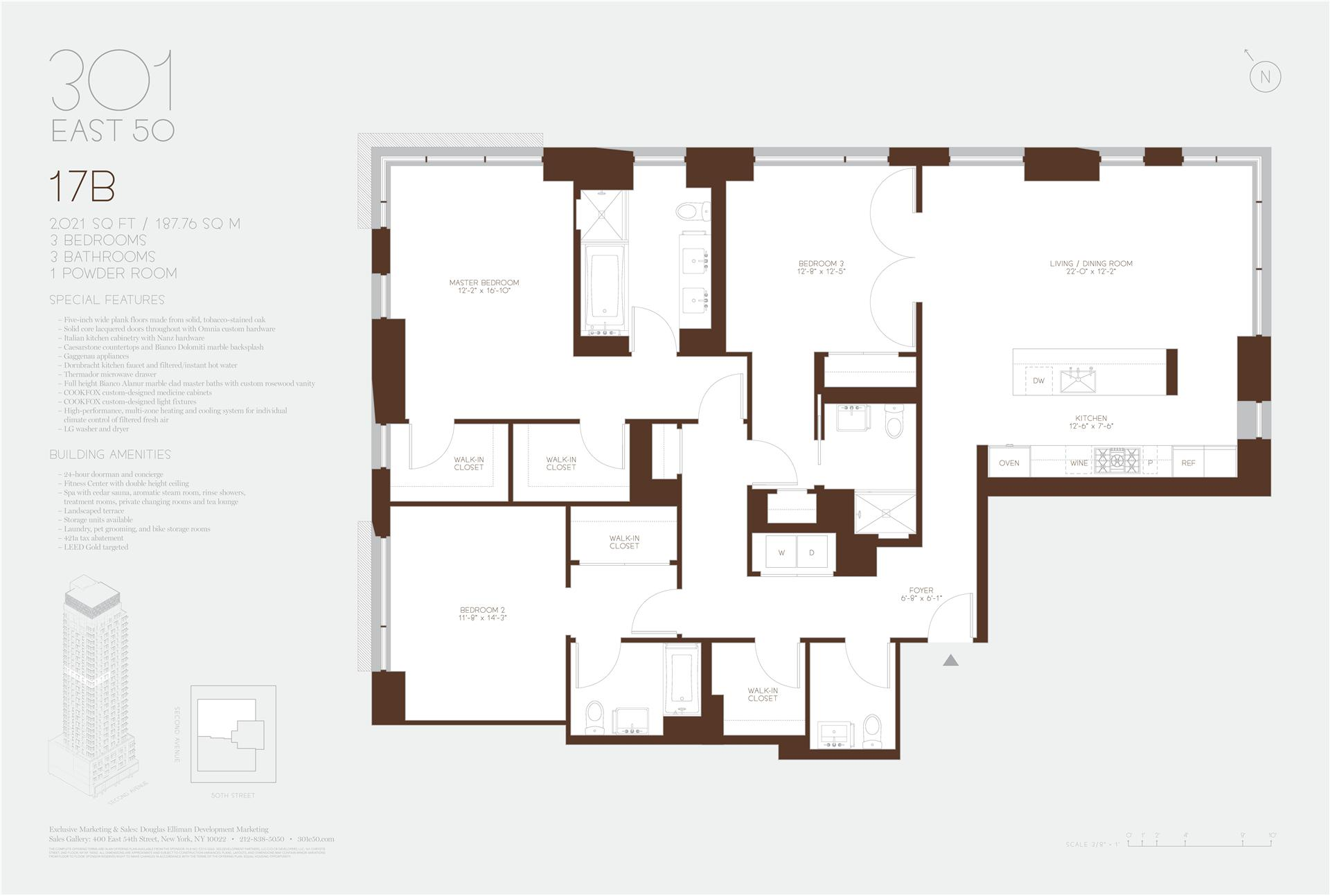 Floor plan of 301 East 50th St, 17B - Turtle Bay, New York