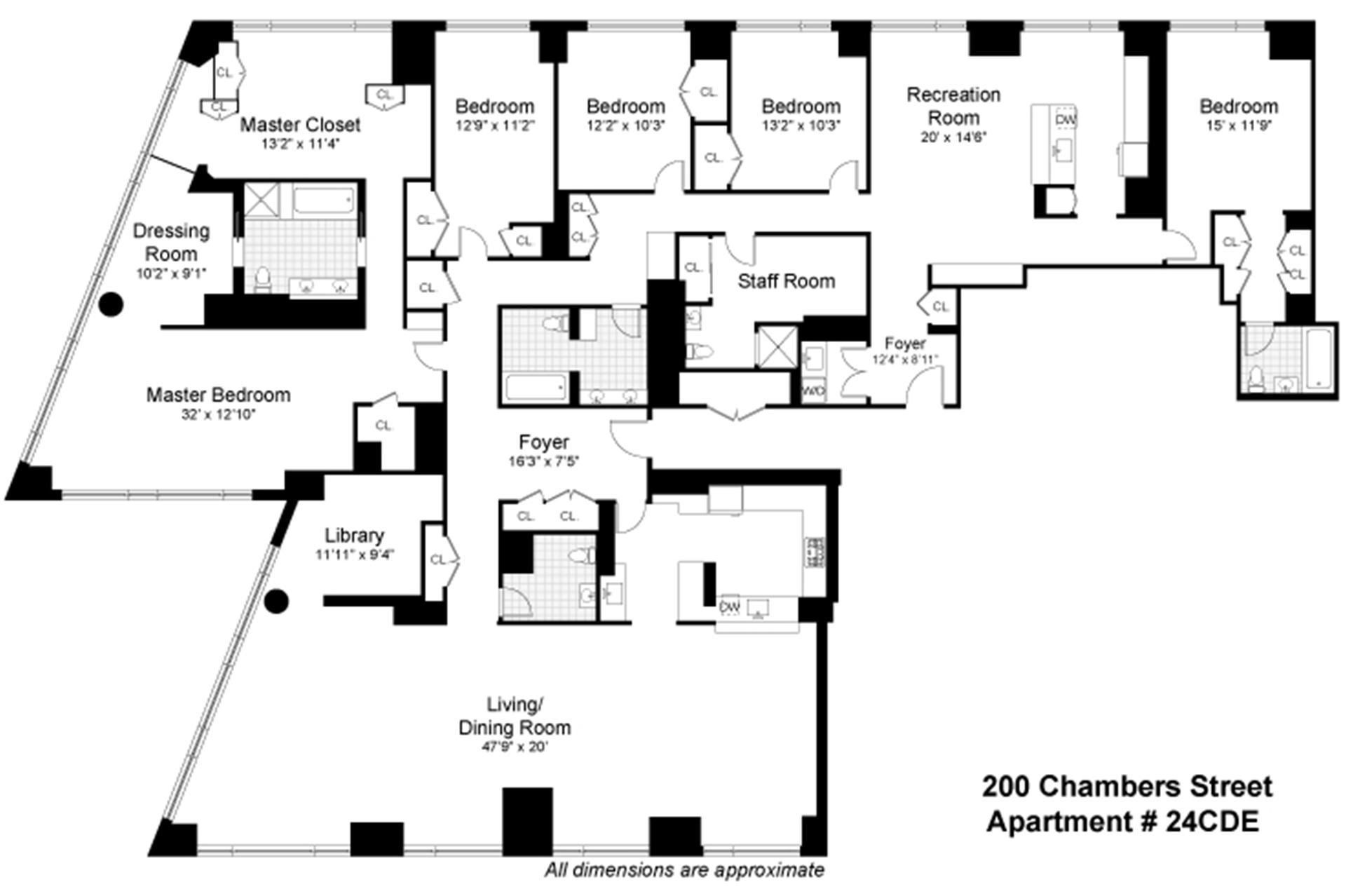 Floor plan of 200 Chambers St, 24CDE - TriBeCa, New York