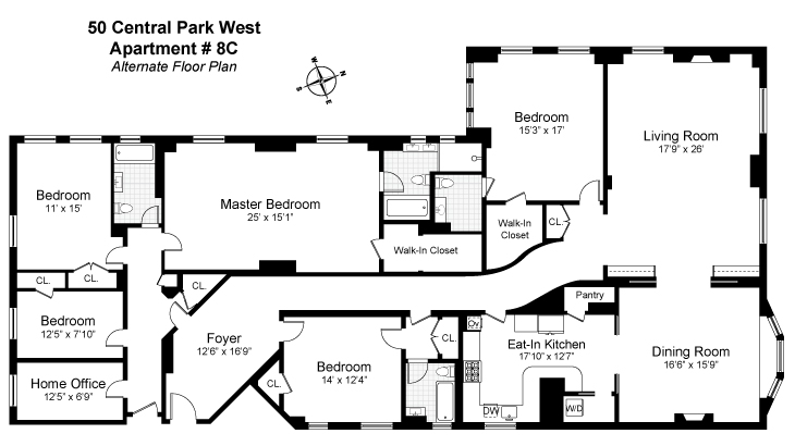 Floor plan of The Prasada, 50 Central Park West, 8CD - Lincoln Square, New York