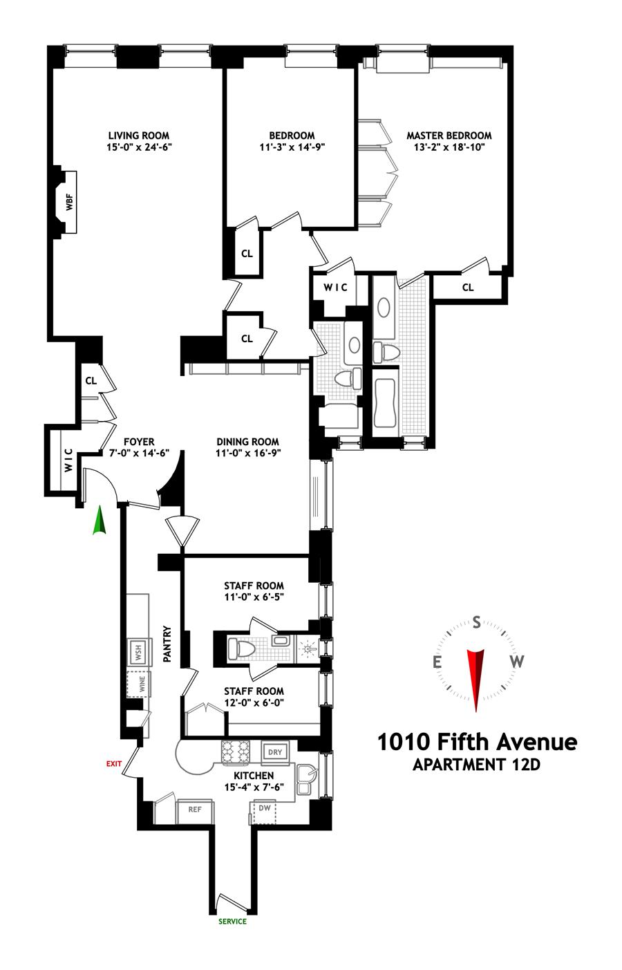 Floor plan of 1010 TENANTS CORP, 1010 Fifth Avenue, 12D - Upper East Side, New York