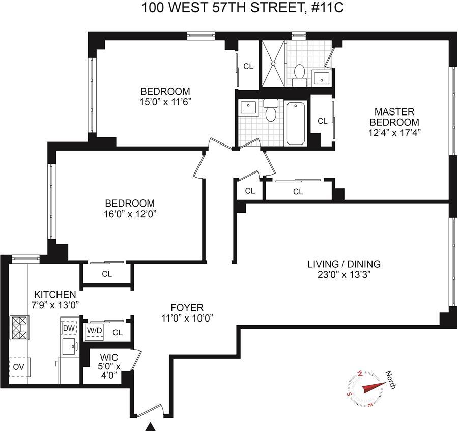 Floor plan of CARNEGIE HOUSE, 100 West 57th St, 11C - Midtown, New York