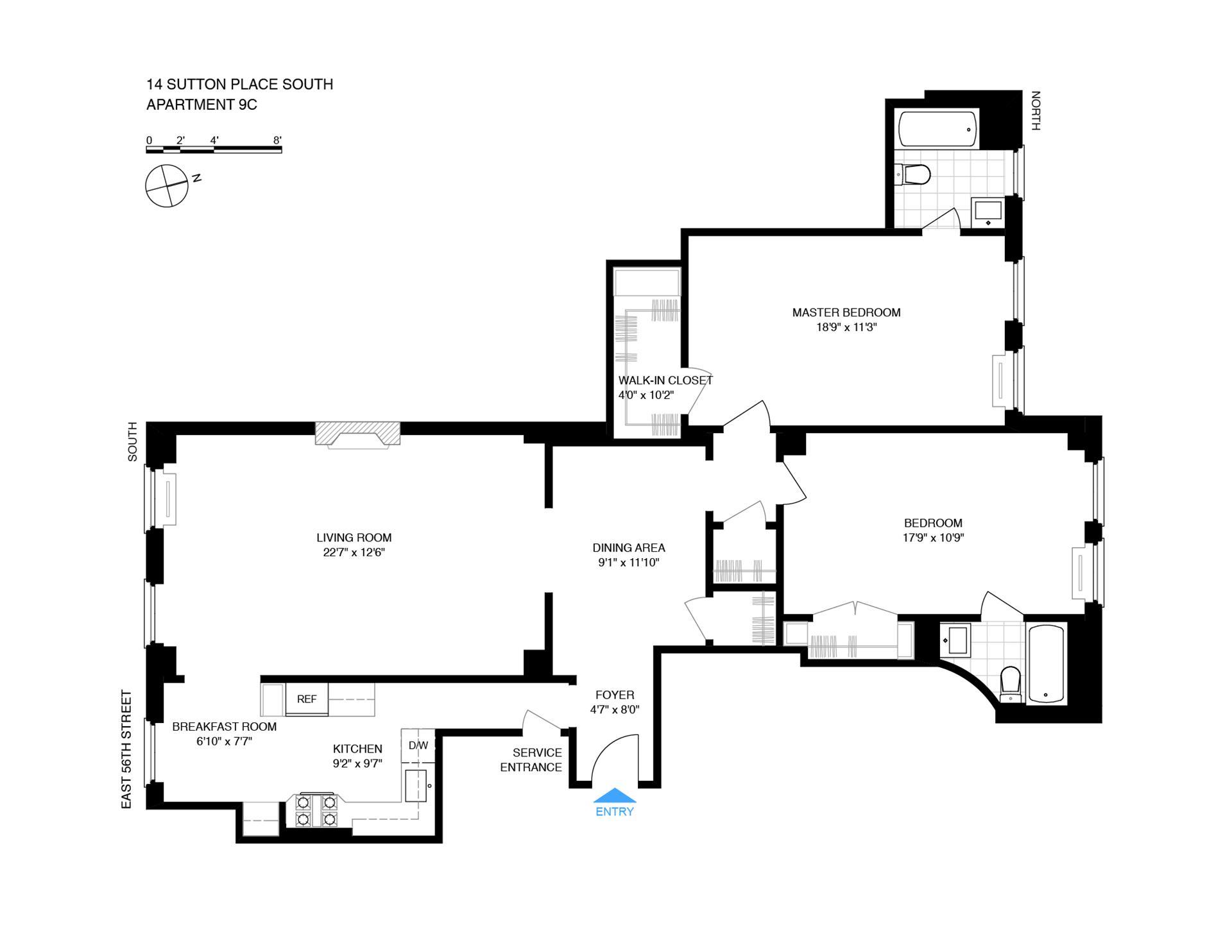 Floor plan of SUTTON TENANTS CORP, 14 Sutton Pl South, 9C - Sutton Area, New York