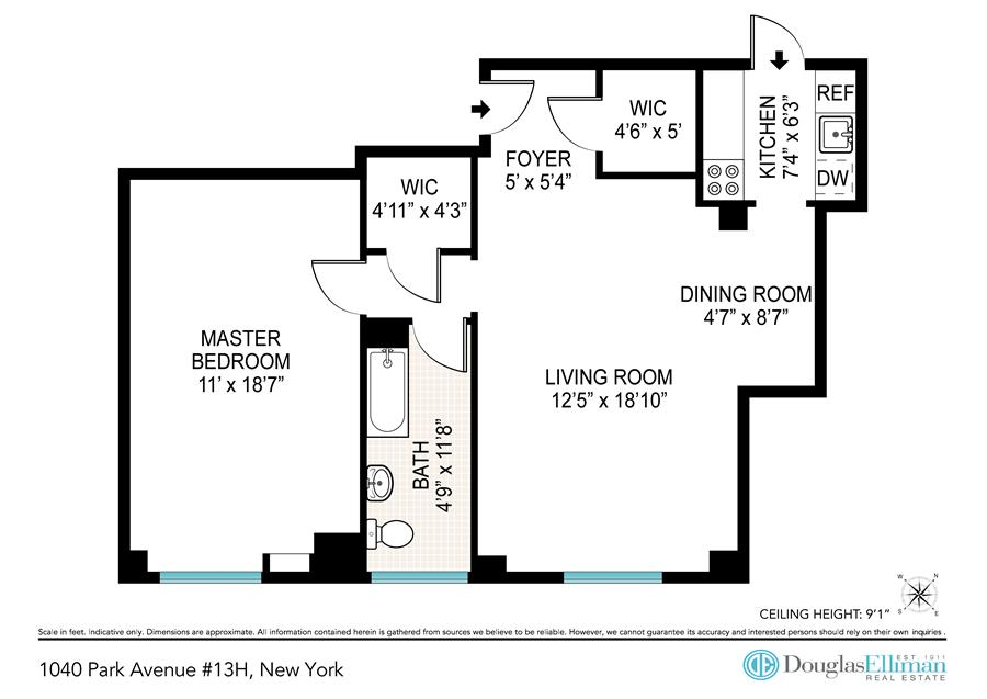 Floor plan of Park-86 Apartment Corp., 1040 Park Avenue, 13H - Carnegie Hill, New York