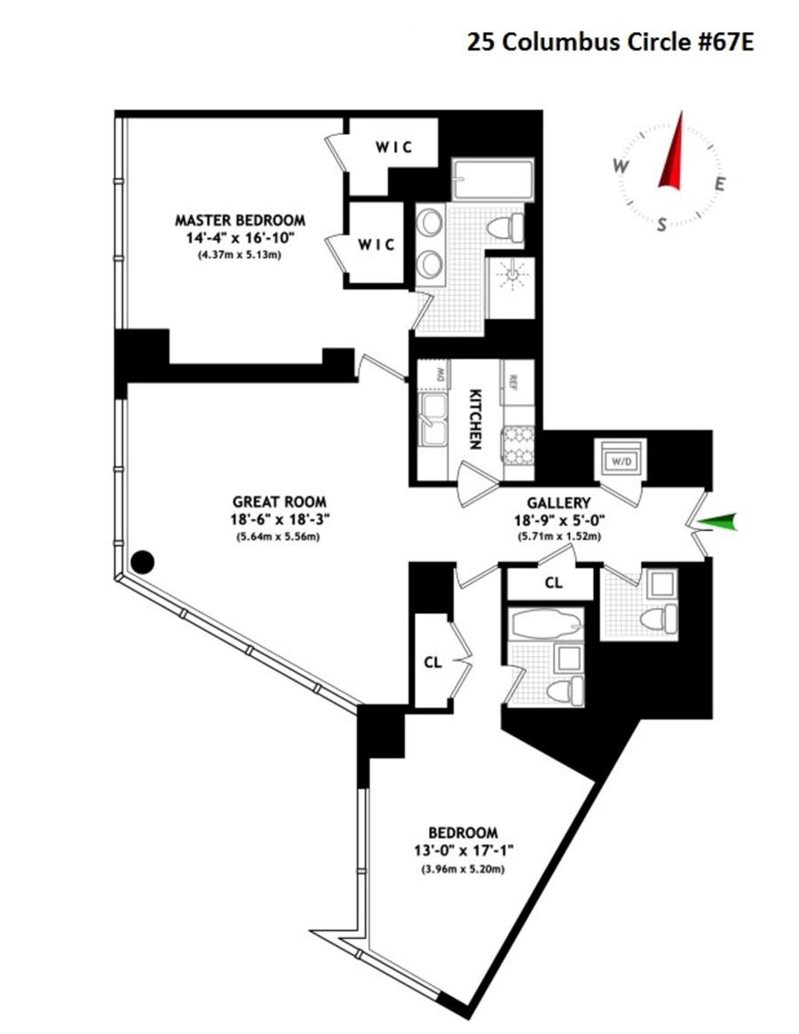 Floor plan of Time Warner Center, 25 Columbus Circle, 67E - Central Park South, New York