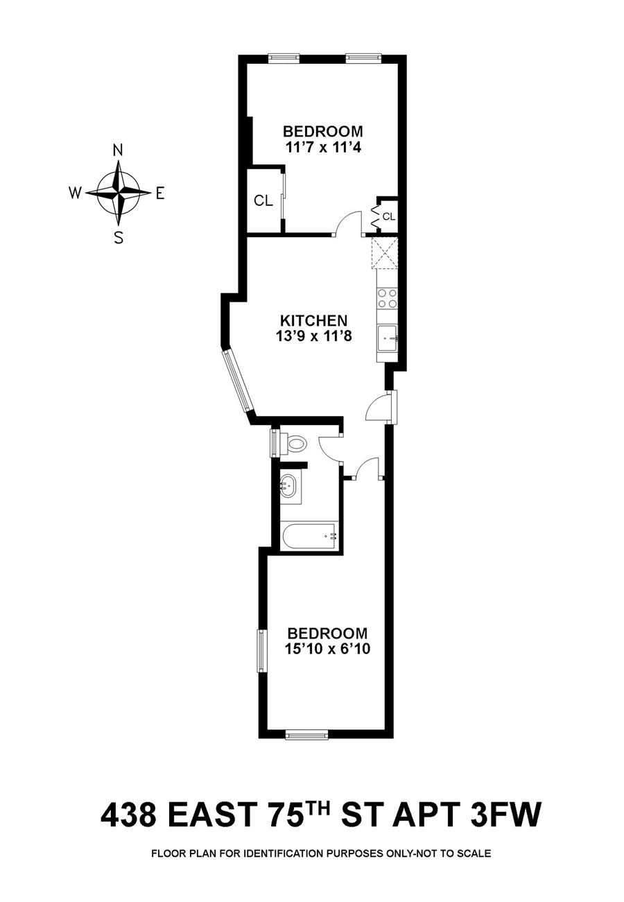 Floor plan of 438 East 75th St, 3FW - Upper East Side, New York