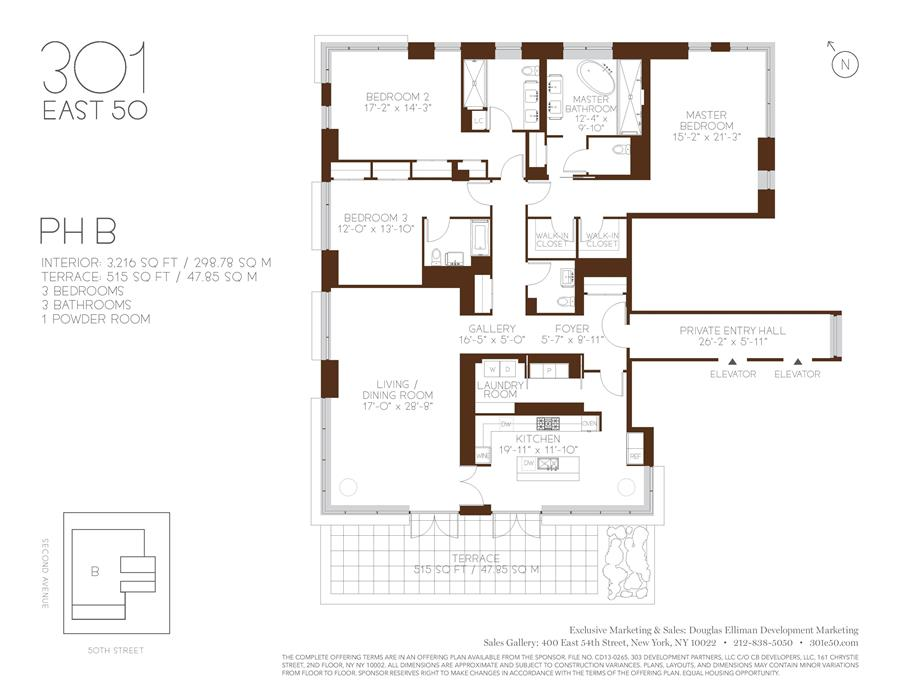 Floor plan of 301 East 50th St, PHB - Turtle Bay, New York