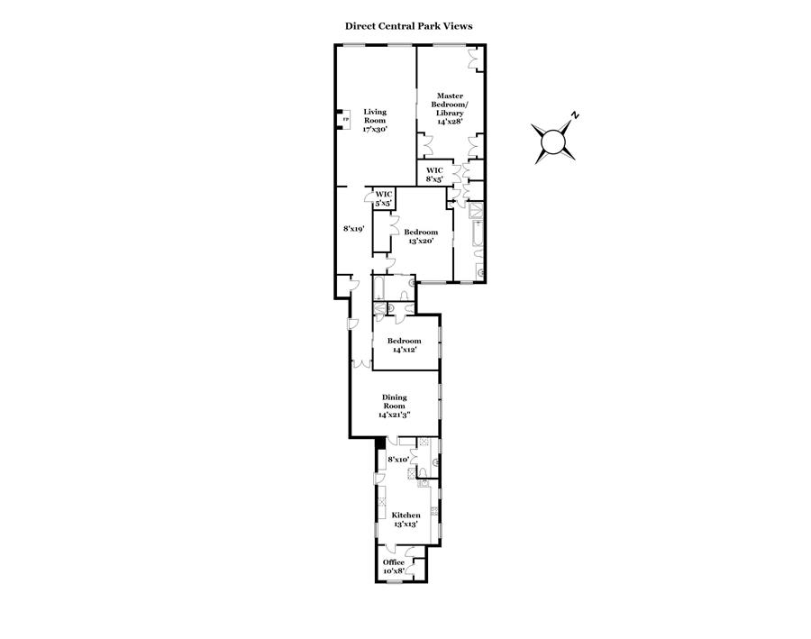 Floor plan of FIFTH 912 CORP., 912 Fifth Avenue, 3B - Upper East Side, New York