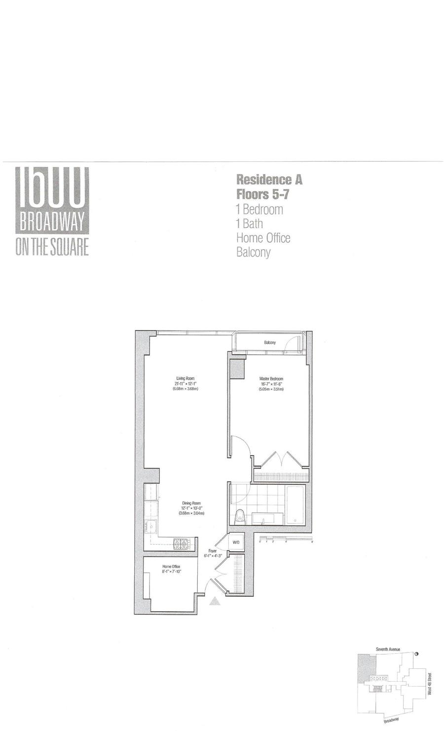 Floor plan of 1600 Broadway, 5A - Midtown, New York