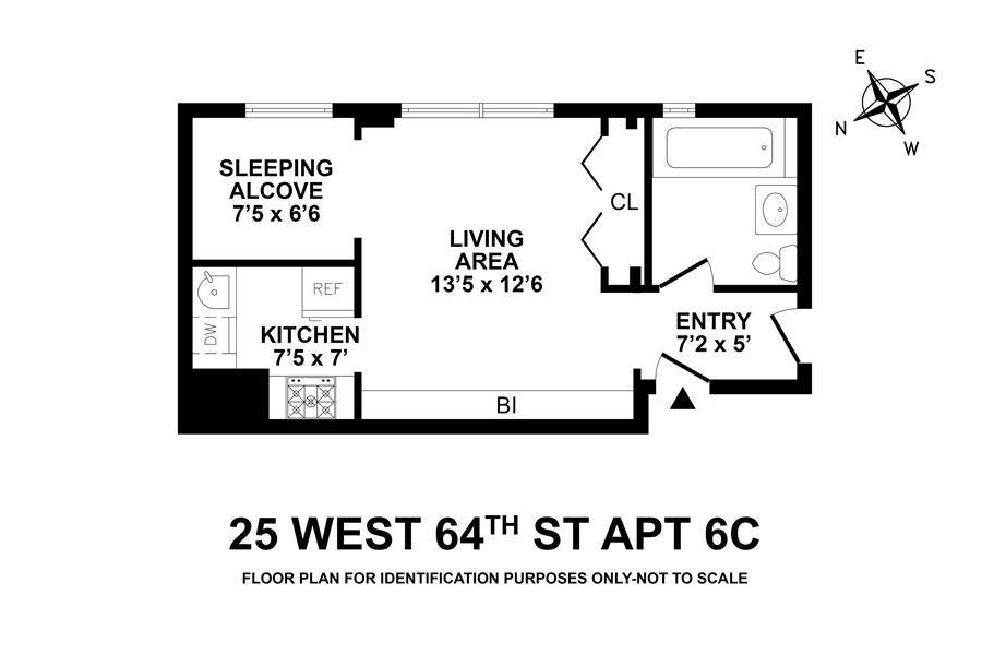 Floor plan of 25 West 64th Street, 6C - Lincoln Square, New York