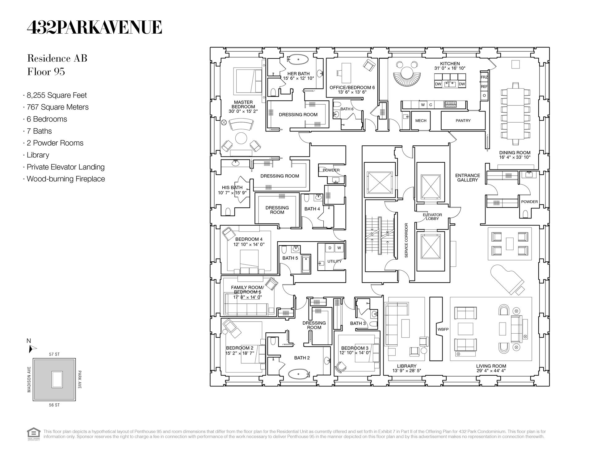 Floor plan of 432 Park Avenue, PH95 - Midtown, New York