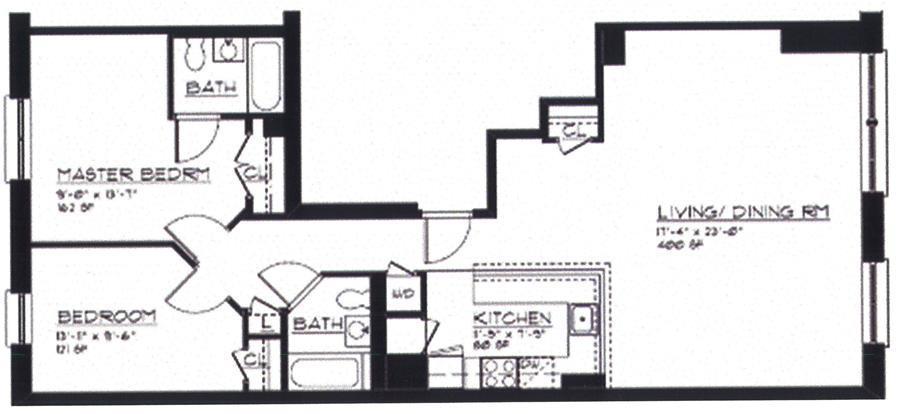 Floor plan of The Palomar, 266 West 115th St, 5B - Harlem, New York