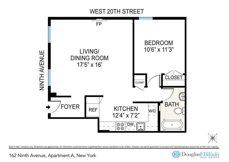 Floor plan of 162 Ninth Avenue, A - Chelsea, New York
