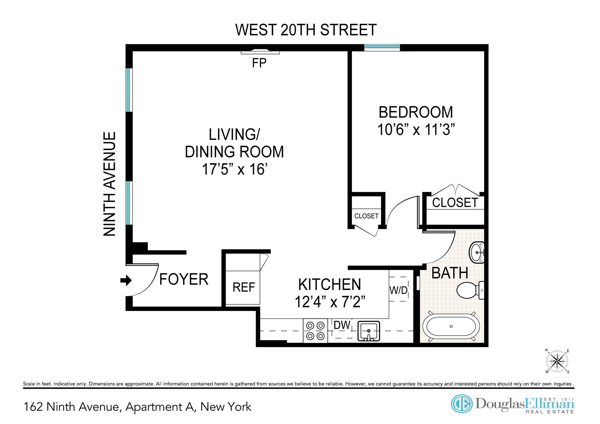 Floor plan of 162 Ninth Avenue, A - Chelsea, New York