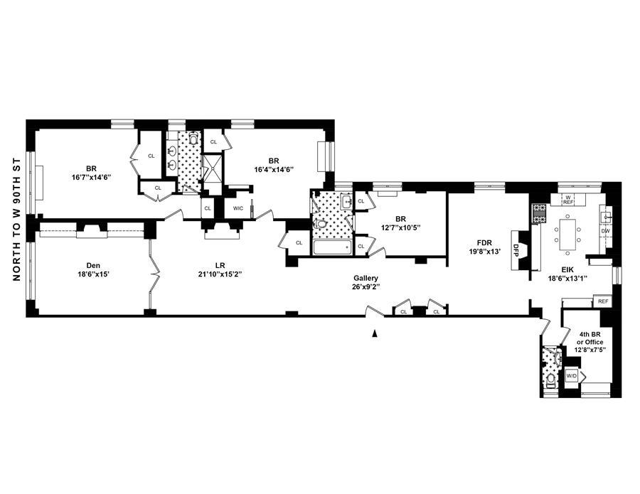 Floor plan of 610 West End Avenue, 1D - Upper West Side, New York