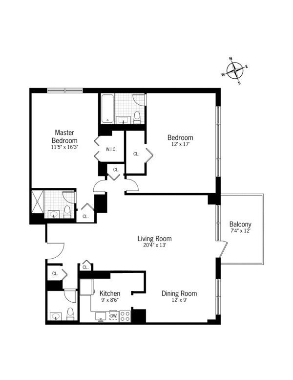 Floor plan of Sherman Square, 201 West 70th St, 23E - Upper West Side, New York