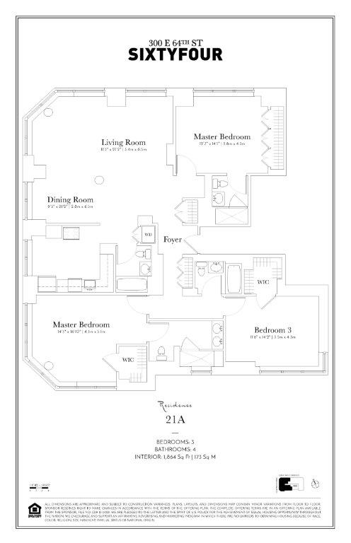 Floor plan of 300 East 64th St, 21A - Upper East Side, New York