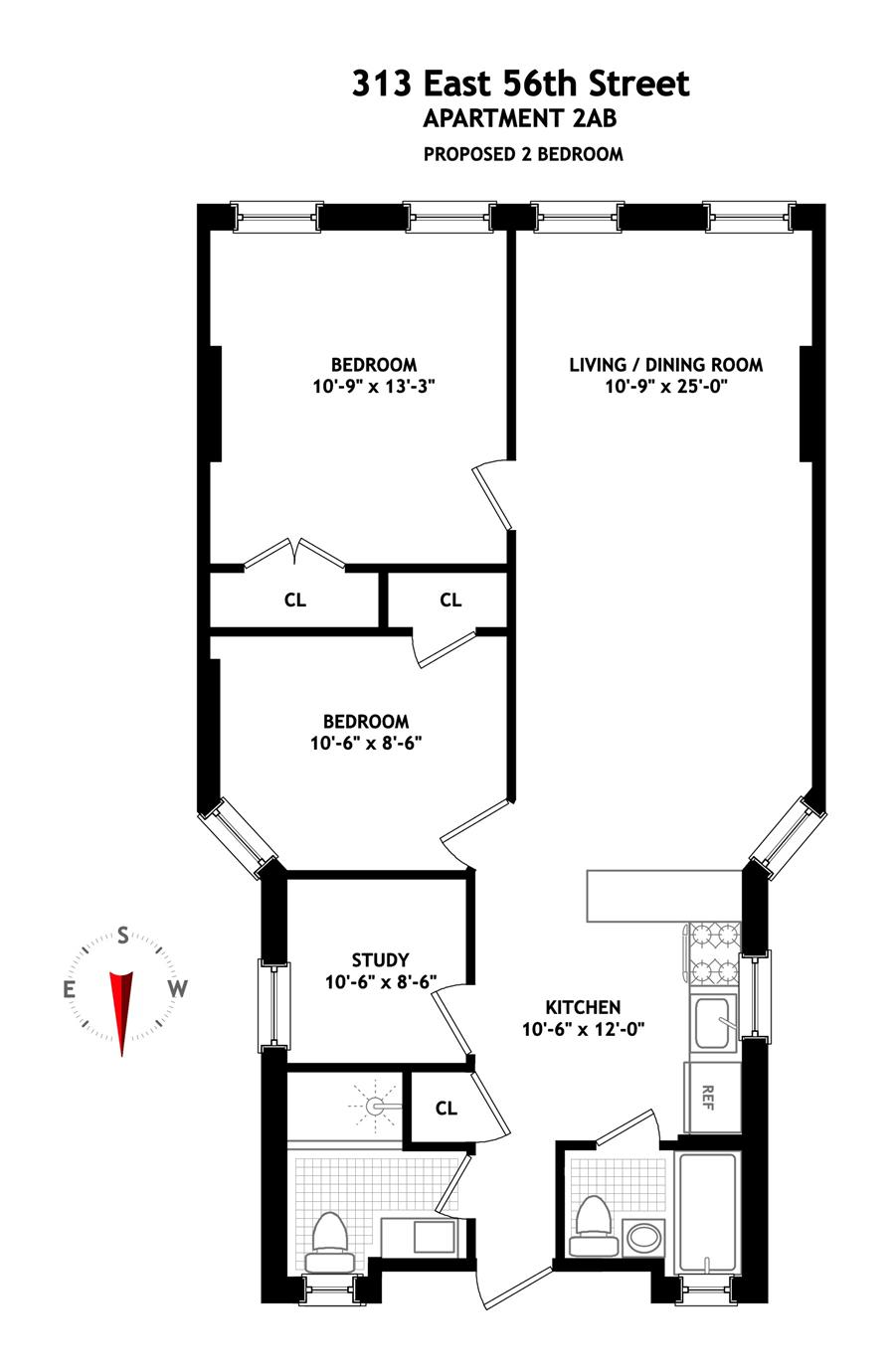 Floor plan of 313 East 56th St, 2AB - Sutton Area, New York