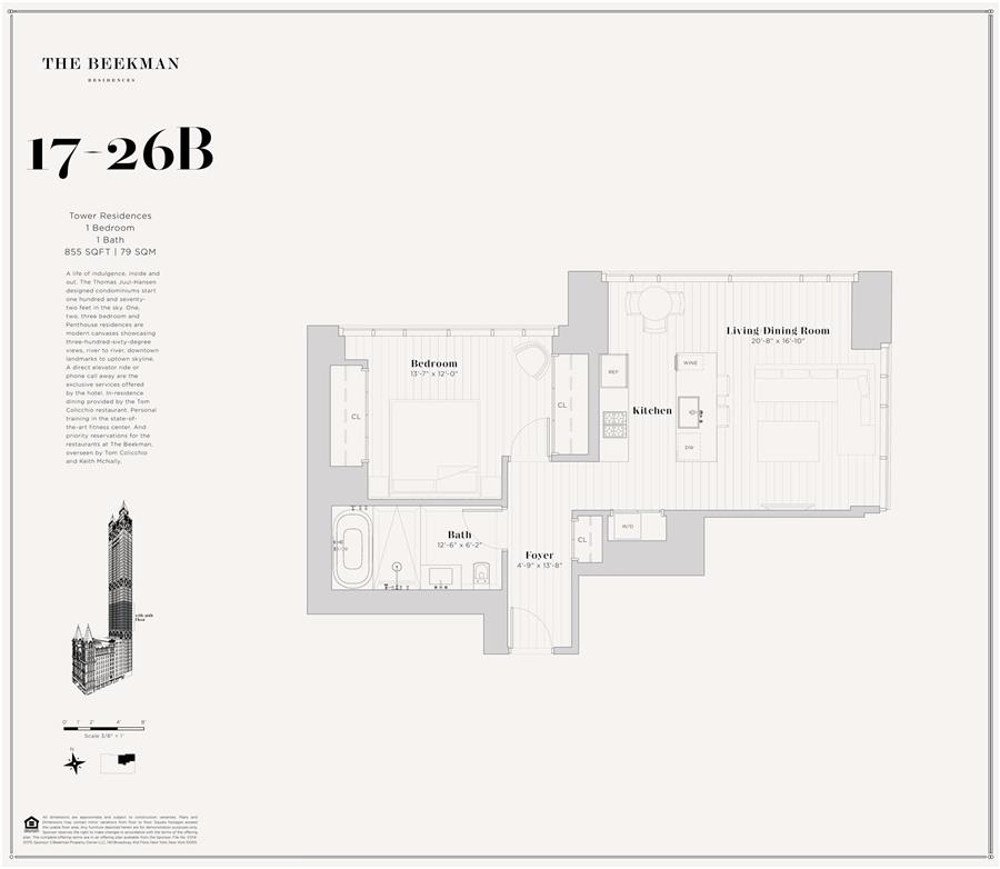 Floor plan of The Beekman Residences, 5 Beekman St, 20B - Financial District, New York