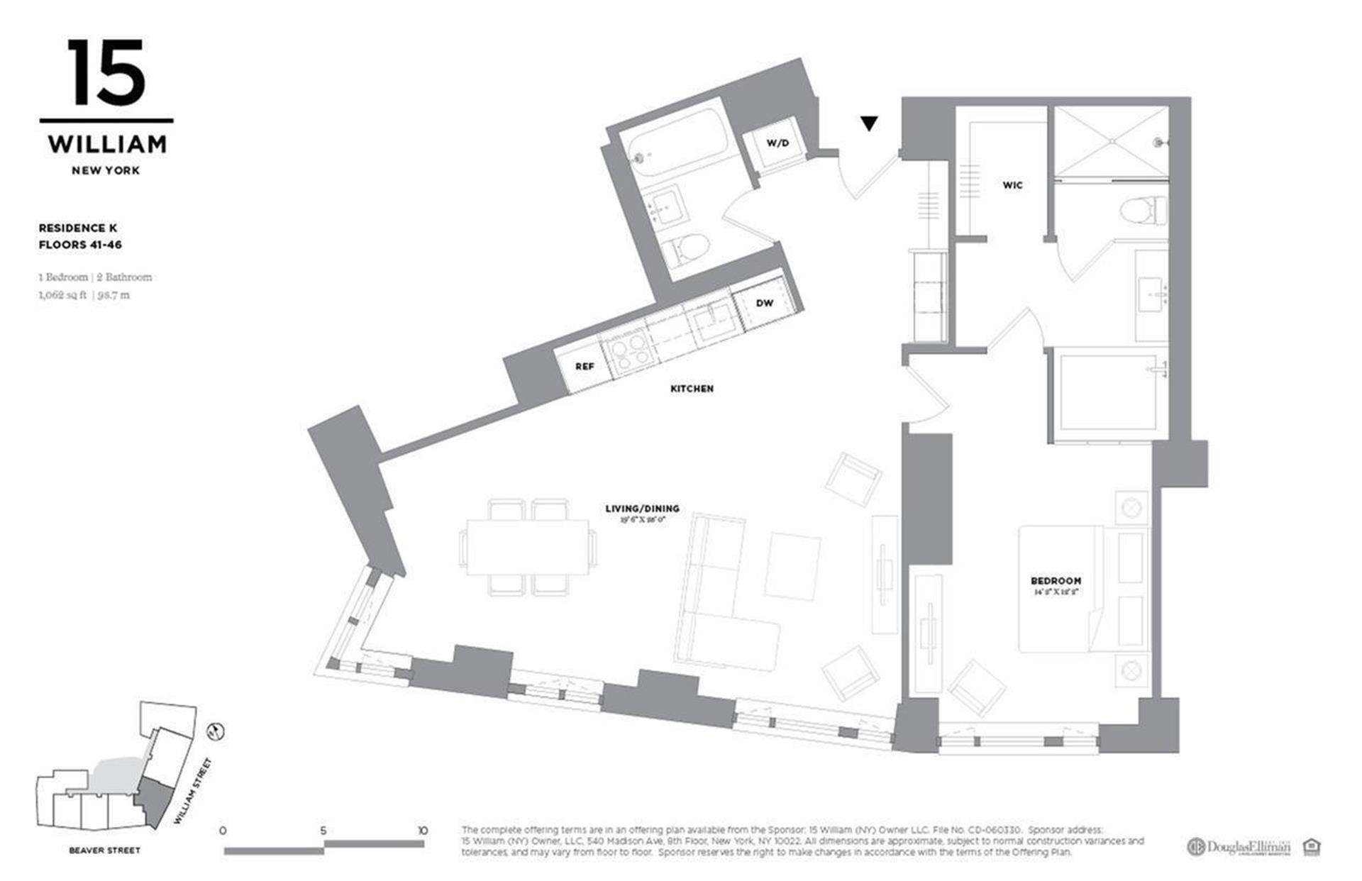 Floor plan of 15 William, 15 William St, 44K - Financial District, New York