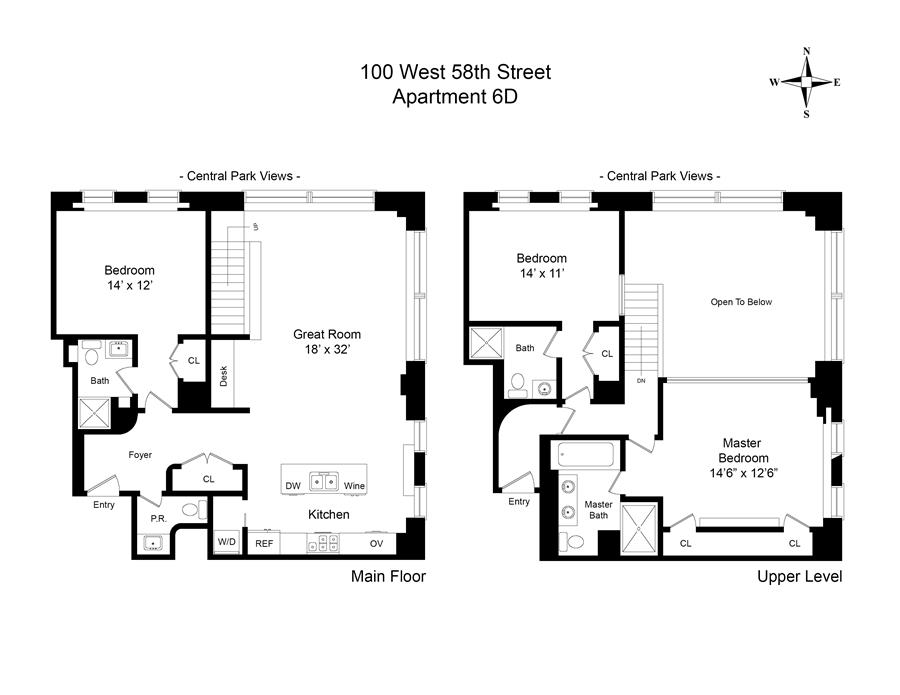 Floor plan of 100 West 58th St, 6D - Midtown, New York