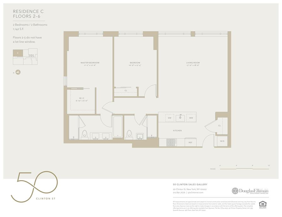 Floor plan of 50 Clinton St, 2C - Lower East Side, New York