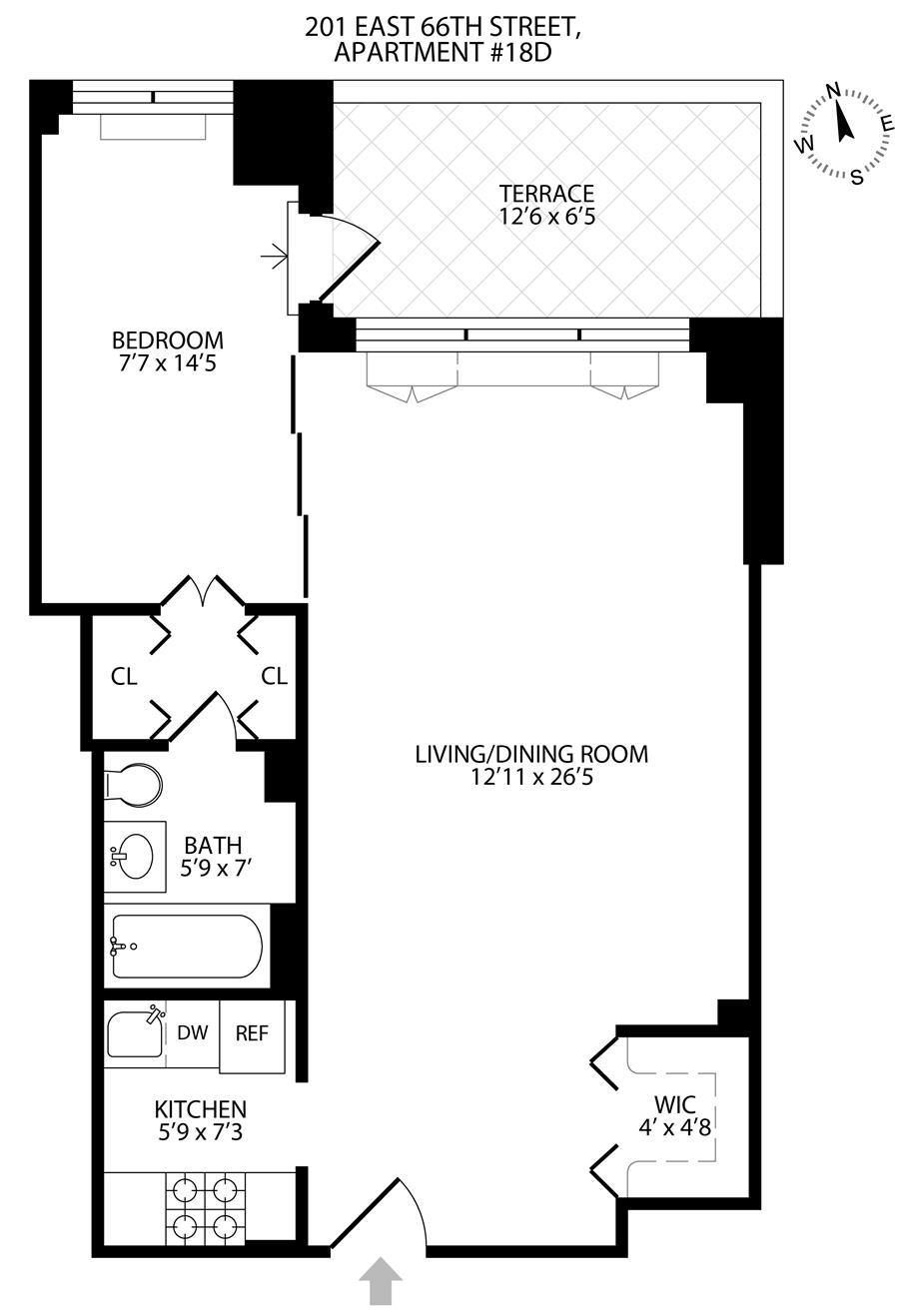 Floor plan of 201 East 66th St, 18D - Upper East Side, New York