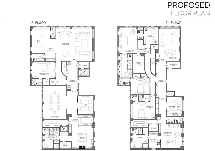 Floor plan of 941 Park Avenue, 5/6C - Upper East Side, New York