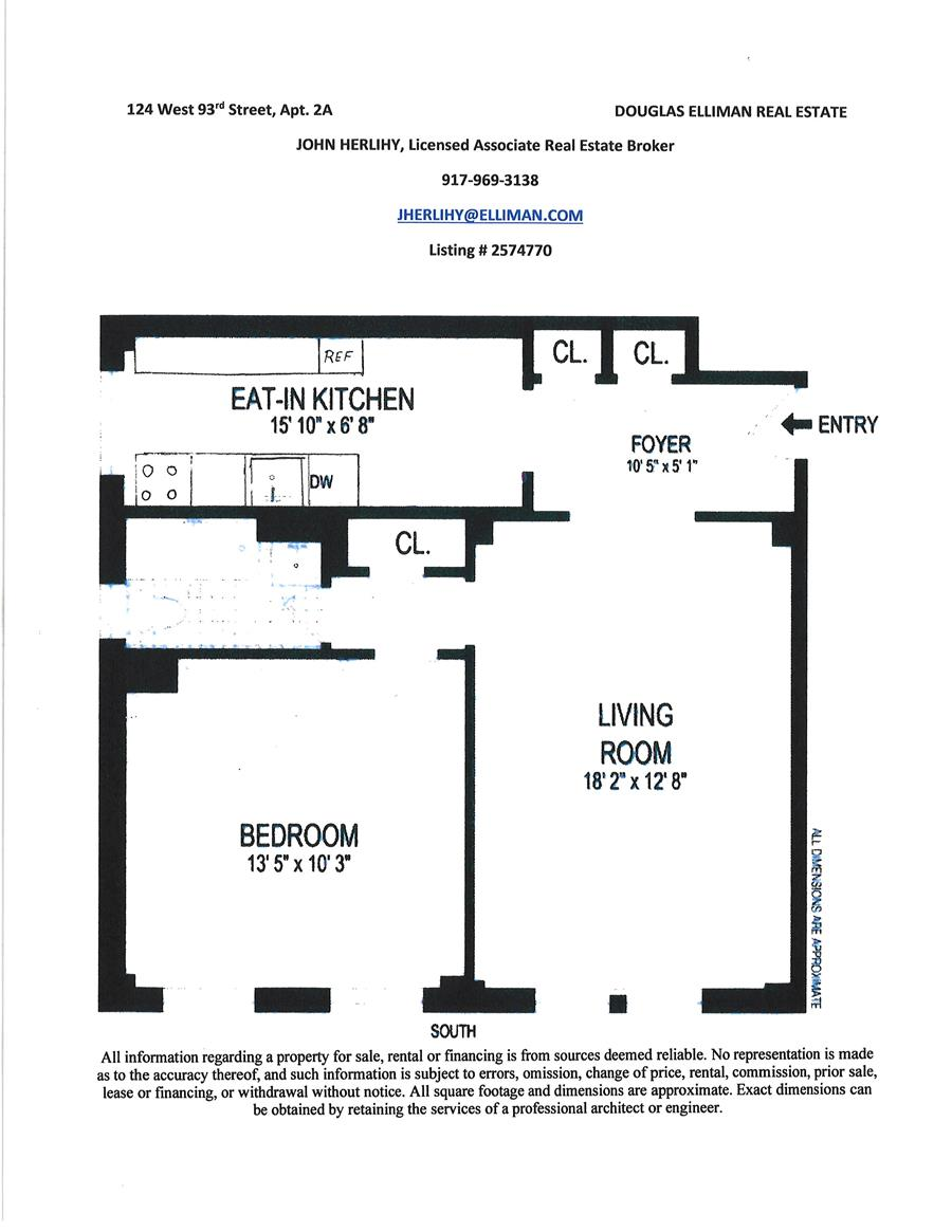 Floor plan of 124 West 93rd St, 2A - Upper West Side, New York