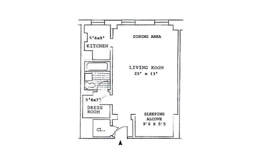 Floor plan of Parc Vendome, 353 West 56th Street, 2G - Clinton, New York