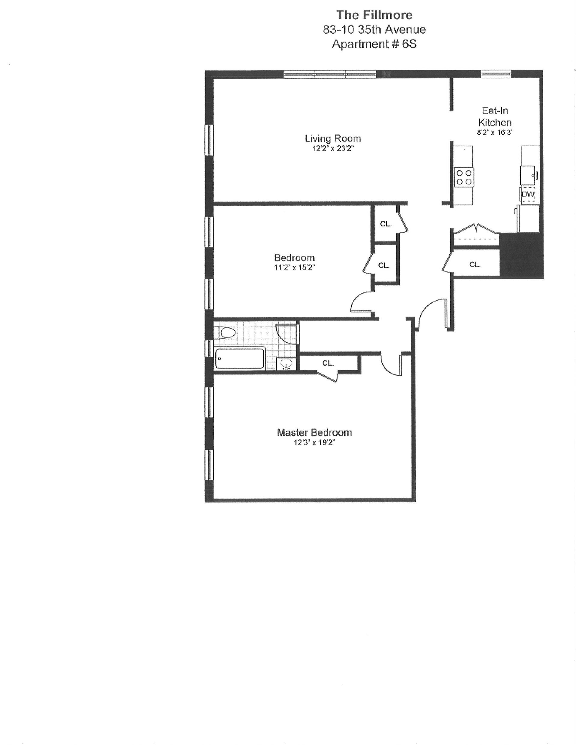 Floor plan of 83-10 35th Avenue, 6S - Jackson Heights, New York