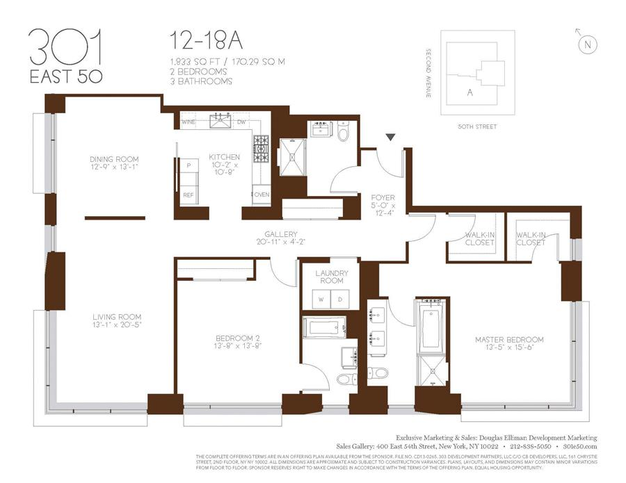 Floor plan of 301 East 50th St, 14AS - Turtle Bay, New York