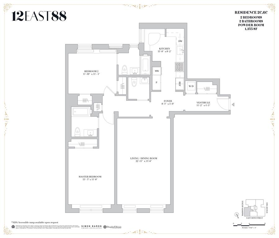 Floor plan of 12 East 88th St, 2C - Carnegie Hill, New York