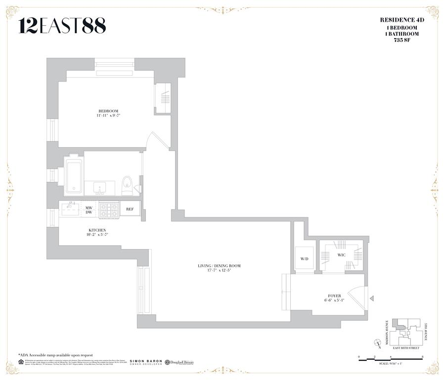 Floor plan of 12 East 88th St, 4D - Carnegie Hill, New York