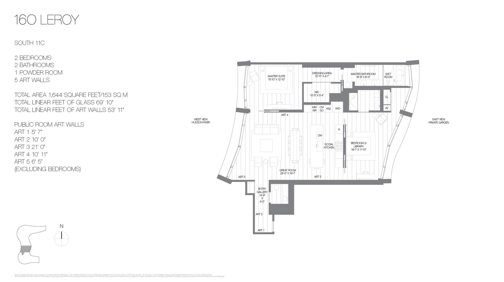 Floor plan of 160 Leroy St, SOUTH11C - West Village - Meatpacking District, New York