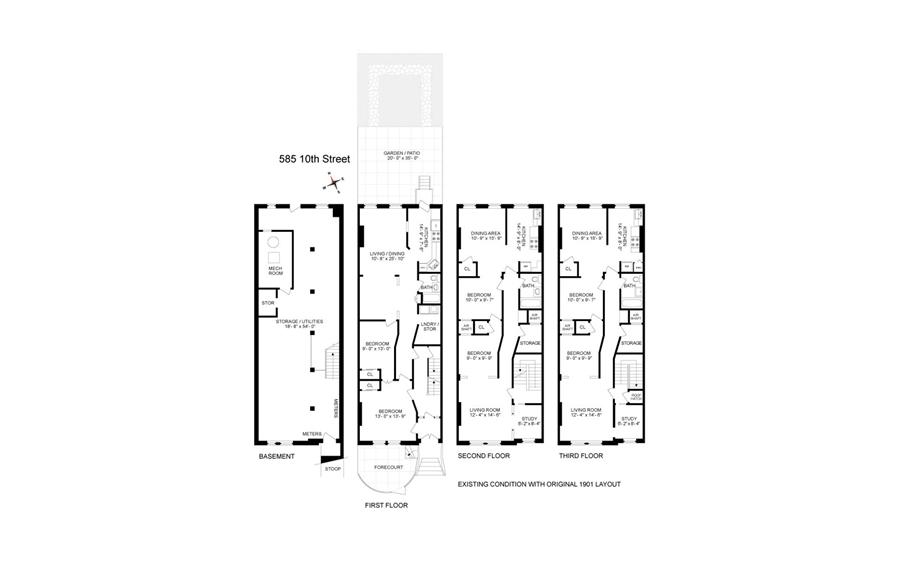 Floor plan of 585 10th St - Park Slope, New York