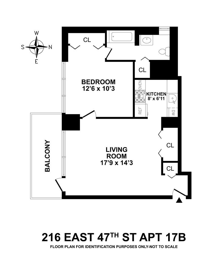 Floor plan of 216 East 47th Street, 17B - Turtle Bay, New York