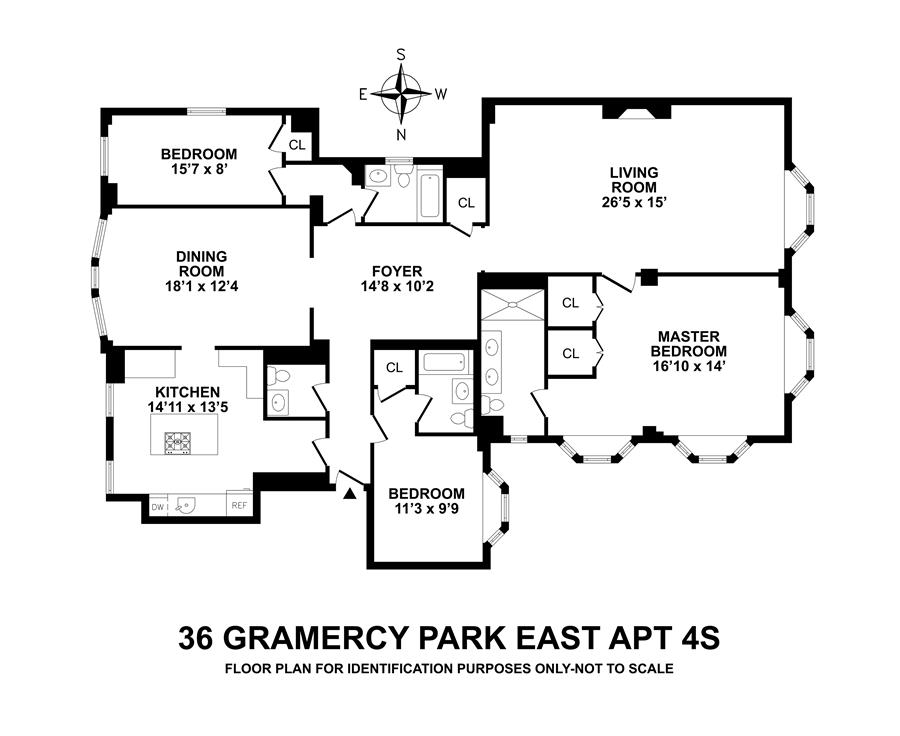 Floor plan of 36 Gramercy Park East, 4S - Gramercy - Union Square, New York