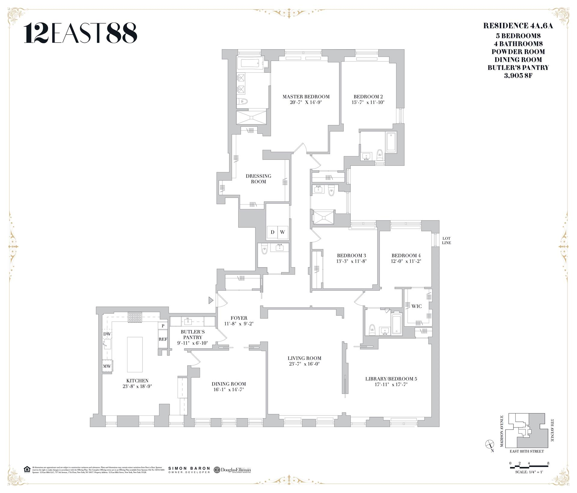 Floor plan of 12 East 88th St, 4A - Carnegie Hill, New York