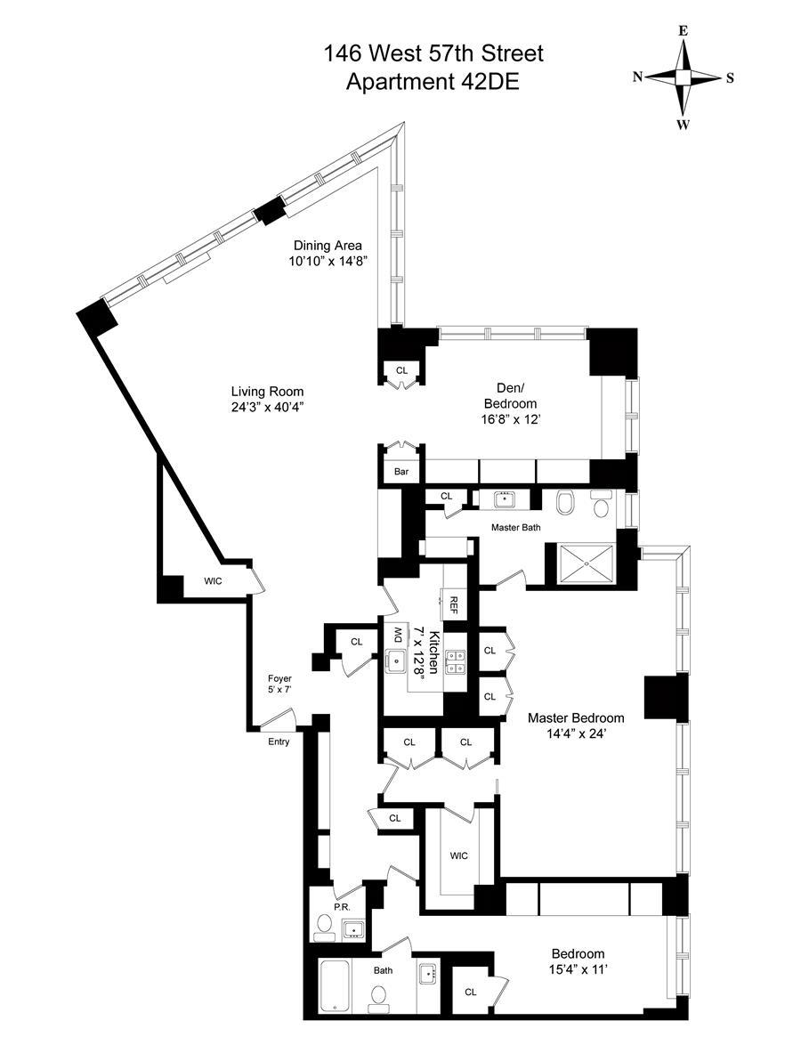 Floor plan of METROPOLITAN TOWER, 146 West 57th Street, 42D - Midtown, New York
