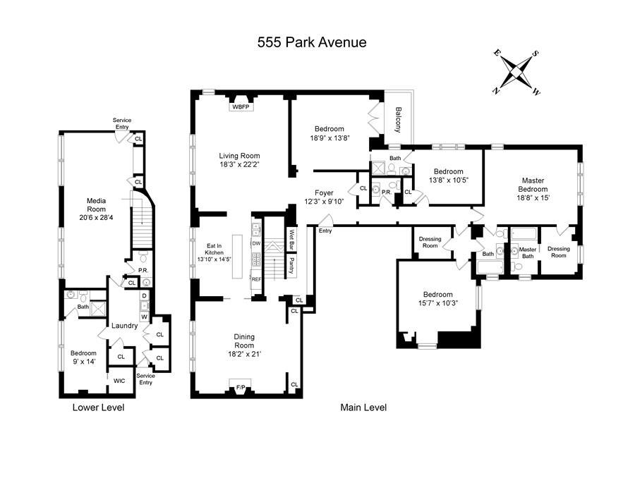 Floor plan of 555 Park Avenue, M1 - Upper East Side, New York