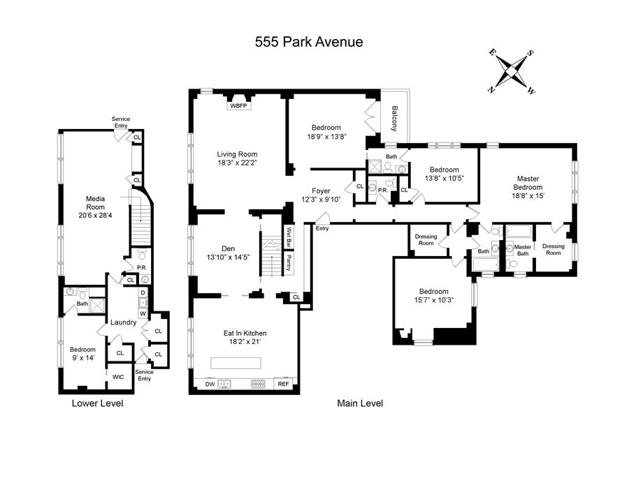 Floor plan of 555 Park Avenue, M1 - Upper East Side, New York