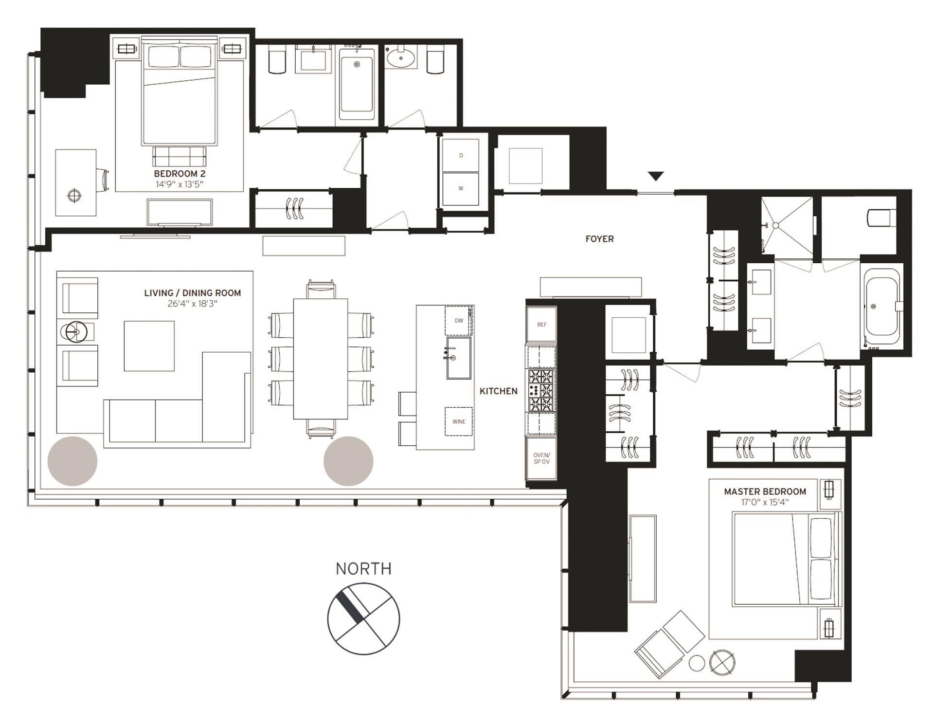 Floor plan of One57, 157 West 57th St, 38C - Central Park South, New York